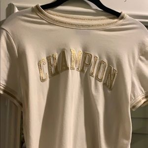 Cream Champion TShirt crop top fitted